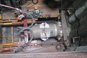 Hobas Druck-Vortriebsrohr DA 1499 mm, PN 10 in der Vorpressstation<em>Fotos: Hobas</em><br />