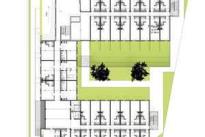 rechts: Ein rundes Konzept: 105 Apartments auf vier Geschossen mit gemeinsamem Innenhof, Lobby, Besprechungs- und Freizeiträumen und Tiefgarage.