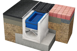 Modularer Aufbau des Rinnensystems BIRCOpur: Sedimentationsbox, Granulatfilterkissen und Leitblech<br /><br />