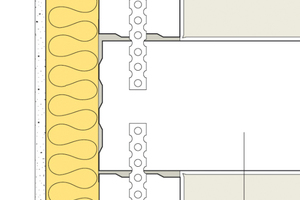 Sichere Ausführung bei flankierenden Bauteilen wie z.B. dem Bereich der Außenwand: Trennwand durchgehend, flankierende Bauteile stumpf angeschlossen