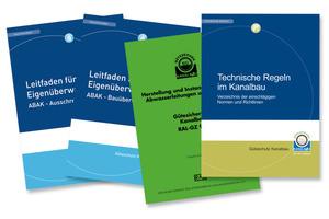 """Zum umfangreichen Informationsmaterial der Gütegemeinschaft Kanalbau zählen die """"Leitfäden für die Eigenüberwachung"""", die """"Güte- und Prüfbestimmungen"""" und die Broschüre """"Technischen Regeln im Kanalbau""""<br /><br />"""