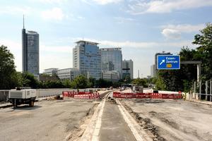 Die Hauptfahrbahn des Ruhrschnellweges nach den Abbrucharbeiten<br />