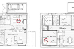 Abb. 3: Konkrete Schallschutzmessungen am Objekt: Beide Sende-(links) und Empfangsräume (rechts) verfügen über jeweils zwei angrenzende Außenwände. Die trennende Deckenfläche ist verhältnismäßig klein, so dass der Schalldämmleistung der Flankenbauteile – und somit des Ziegelmauerwerkes – eine besondere Rolle zukommt