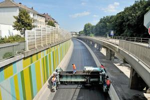 Einbau von Gussasphalt durch die Eurovia Teerbau Bottrop<br />