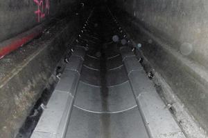 Fertig montierte Wärmetauscherstrecke Therm-Liner Typ B, Fabrikat Uhrig, aus 76 meterlangen Elementen zusammengesetzt