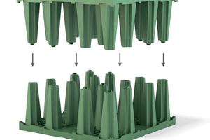 Mit wenigen Handgriffen lassen sich die Halbelemente von Rigofill ST und Rigofill ST-B, den neuen Rigolenfüllkörpern von Fränkische, über eine sichere Rastverbindung zu Vollblöcken zusammensetzen.