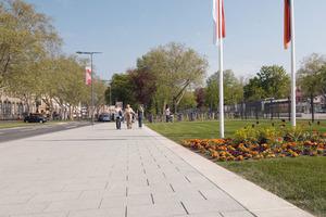 Im Bereich der Neustadt vor dem Schloss wurde der Boulevardcharakter der Straße betont<br />