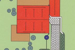 Regenwasser kann bei guter Bodendurchlässigkeit komplett auf dem Grundstück bewirtschaftet werden. Zisterne mit Überlauf in eine Sickermulde und Dachbegrünung von Nebengebäuden machen dies möglich<br />Grafik 01: Stadt Karlsruhe, Grafiken 02 und 03: König