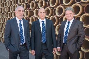 Die Geschäftsführer von Steinzeug-Keramo (v. l. n. r.): Frank Franco, Bernd Ebbers und Ronny Neys.
