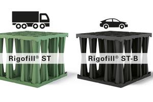 Die grünen Blöcke Rigofill ST von Fränkische sind für Verkehrslasten bis zu SLW 60/GVW 60 t unter viel befahrenen Flächen entwickelt. Die schwarzen Rigofill-ST-B-Blöcke sind bis SLW 30/GVW 30 t belastbar und eignen sich ideal für weniger belastete Flächen.