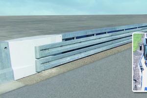 Übergangskonstruktion von Ortbetonschutzwänden auf Stahlschutzplanken<br />