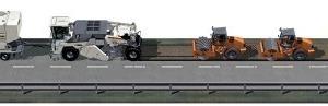 <strong>Hochwertiges Kaltrecycling mit Schaumbitumen</strong><br />Ein Streumaster Bindemittelstreuer legt geringe Mengen Zement vor, gefolgt von einem Wasser- sowie einem Bitumentankwagen. Der leistungsstarke Fräs- und Mischrotor des WR 240 / WR 240 i granuliert die sanierungsbedürftigen Schichten. Gleichzeitig wird der vorgestreute Zement eingemischt und über zwei mikroprozessorgesteuerte Einsprühleisten werden Schaumbitumen und Wasser eingesprüht. Schaumbitumen wird dabei in Expansionskammern erzeugt – durch Eindüsen geringer Mengen Wasser und Druckluft in heißes Bitumen. Das Heißbitumen schäumt dann schlagartig auf ein Vielfaches seines Volumens auf und verteilt sich gleichmäßig in dem aufzubereitenden Mineralgemisch. Während ein Grader die Feinprofilierung des aufbereiteten, homogenen Baustoffs ausführt, nehmen verschiedene Hamm Walzen dessen Verdichtung vor.<br /><br />Ein Bitumentankwagen fährt vor, gefolgt von einer Wirtgen Suspensionsmischanlage WM 1000. Bitumentankwagen und Suspensionsmischanlage versorgen den WR 240 / WR 240 i mit den Bindemitteln für die Aufbereitung der sanierungsbedürftigen Fahrbahn. Der leistungsstarke Fräs- und Mischrotor des Recyclers granuliert die beschädigten Schichten. Gleichzeitig werden über zwei mikroprozessorgesteuerte Einsprühleisten Schaumbitumen und Wasser-Zement-Suspension eingesprüht. Während ein Grader die Feinprofilierung des aufbereiteten, homogenen Baustoffs ausführt, nehmen verschiedene Hamm Walzen dessen Verdichtung vor.<br /><br />