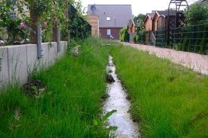 """2Die Entwässerungsmulden im Neubaugebiet dienen auch als naturnahes Gestaltungselement <br /><span class=""""bildunterschrift_hervorgehoben"""">Fotos: Aco Tiefbau</span><br />"""