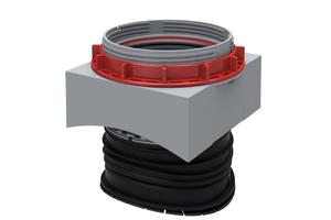 Der uniTec-Seitenanschluss gestattet die problemlose nachträgliche Anbindung an Kanalrohre in den Nennweiten DN 300 bis DN 2400, ist aber auch für den Einbau in gerade Wände – etwa bei monolitisch hergestellten Rechteckprofilen – geeignetDer uniTec-Seitenanschluss passt sich genau an die innere Bohrlaibungskante an