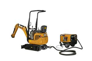 Läuft mit Diesel oder mit Strom aus der Steckdose: Mikrobagger Cat 300.9 VPS mit beigestelltem Hydraulikaggregat.