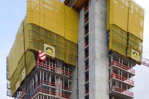 Die Selbstkletterschalung SKE50 plus sorgt bei den vier Aufzugkernen und zwei Treppenhäusern des GEWA-Tower für einen beschleunigten Bauablauf.