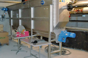 Hofmatt: Integration des Huber RoWin Abwasserwärmetauschers in einem Lagerraum neben der Heizzentrale im Keller des Gebäudes
