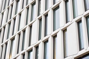 Um das Licht gekonnt zu lenken und der Fassadenfläche den gewünschten ästhetischen Eindruck zu verleihen, entschieden sich die Architekten für unterschiedlich gestaltete Betonelemente.