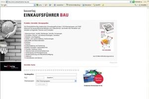 """Einkaufsführer Bau 2010 - als aktuelle Online-Datenbank im Netz verfügbar<span class=""""bildunterschrift_hervorgehoben"""">Abbildung: Bauverlag BV GmbH</span><br />"""