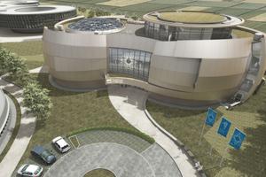 Visualisierung des Entwurfs zum Planetarium und Bersucherzentrum der Architekten Bernhardt + Partner, Darmstadt.