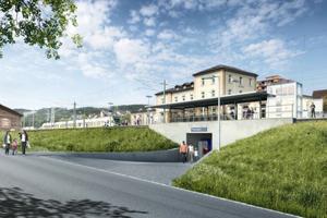 So soll es einmal werden: Der neue Fußgängertunnel unter den vergrößerten Bahnsteigen am Bahnhof im schweizerischen Thayngen.
