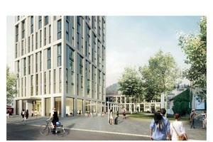 Visualisierung des Hotelbaus, aus Sicht von der Belchenstraße.