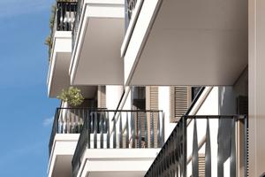 Die mit dem Isokorb RKS angebrachten Balkone dienen gleichzeitig als Dach für den darunter liegenden Balkon <br />