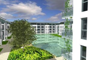 Abb. 2: Gebaut wurden die 460 Wohnungen, Tiefgaragen und Wasserflächen aus wasserundurchlässigem Beton. Zur Abdichtung der Dehn- und Arbeitsfugen dienten die Tricomer-Fugenbänder von Sika Deutschland GmbH