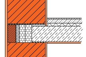 Abb. 5: Konventioneller Deckenanschluss: Eine Stirndämmung der Stahlbetondecke verringert die Wärmebrücke während ein Anlegeziegel aus dem Unipor-System die Konstruktion nach außen hin abschließt