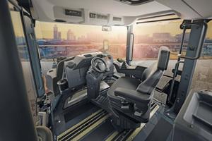 Panoramakabine mit perfekten Sichtverhältnissen: Die schmalen Vorder- und Hinterwagen der DV+ erlauben in jeder Fahrtrichtung den Blick auf die Bandagenkanten.<br /><br /><br />