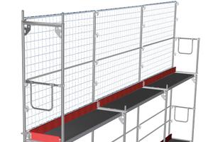 Im Handling verbessert: die Blitz Schutzgitterstütze von Layher ermöglicht ein müheloses Anbringen der Netze und vereinfacht die Aufbaufolge – für eine wirtschaftliche Montage von Schutzwänden in Dachfanggerüsten.