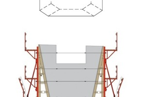 """5Die Zeichnung zeigt die Lösung für die Pfeilerköpfe. Auf dem Klettersystem KLK 230 stehen senkrecht die Mammut-Roste <span class=""""bildunterschrift_hervorgehoben"""">Abbildungen: Meva</span>"""